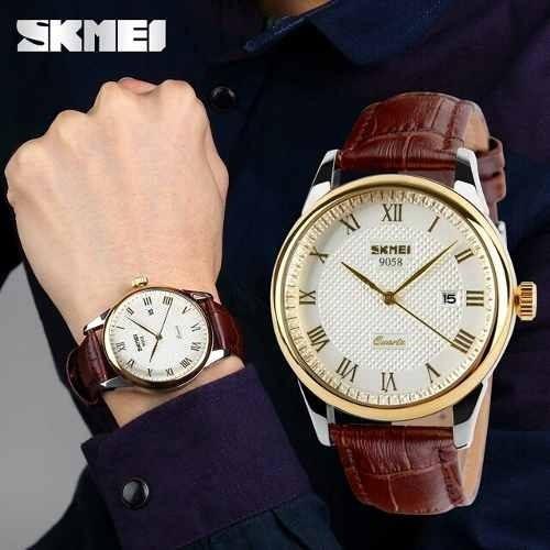 Relógio Skmei Masculino Luxo Original Pulseira Couro N Fisc