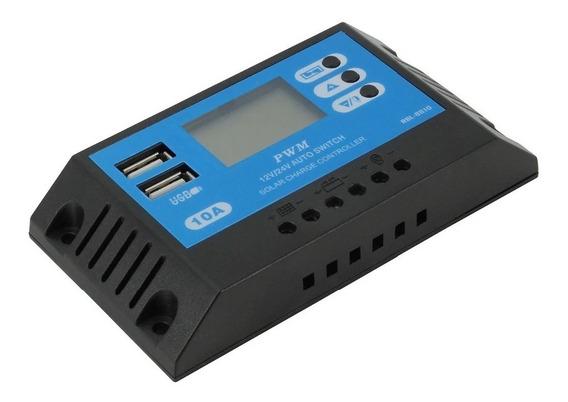 Controlador De Carga Painel Solar 10a 12v/24v 2 Usb