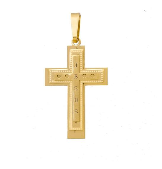Pingente Masculino Crucifixo Jesus B-1807 Aço Banhado A Ouro