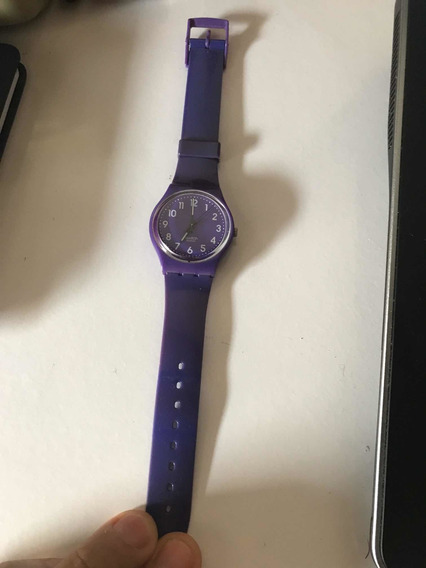 Relógio Swatch Unissex Roxo Em Borracha