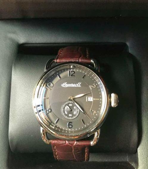 Reloj Ingersoll 1892 New England Caballero Cafe Piel Acero !