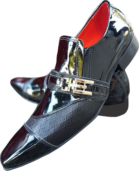 Sapato Masculino Em Couro Preto Verniz Ref:722