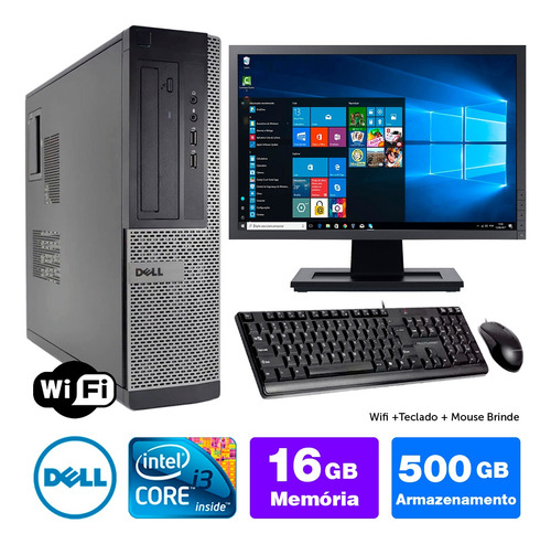 Pc Usado Dell Optiplex Int I3 2g 16gb 500gb Mon19w Brinde