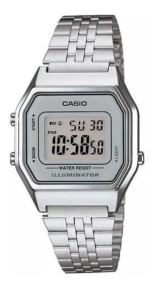 Relógio Pequeno Casio Prata Vintage Digital La680wa-7df