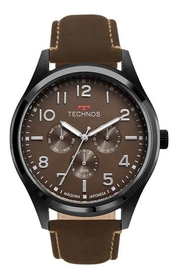 Relógio Technos Racer Pulseira De Couro 6p29akl/2p Barato