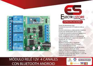 Módulo Rele 4 Canales Con Bluetooth Android 12v