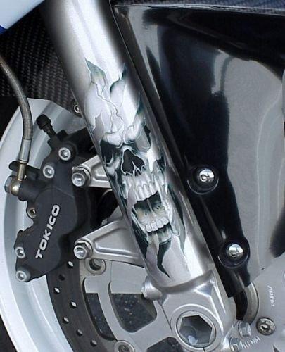 Harley Sportster Softail Dyna Custom Adesivo Garfo Caveira
