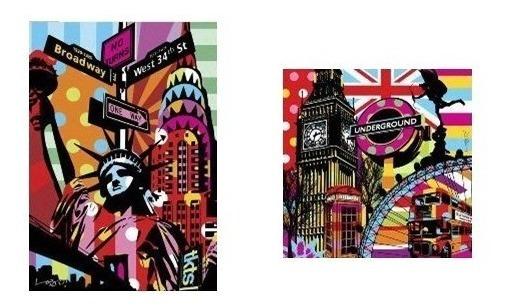 Kit Quadros Decorativos Sala Casa Colorido Pop Art Cidades