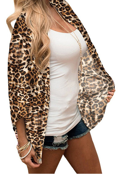 Women Kimono Cardigan Leopard Print 3/4 Sleeves High-low