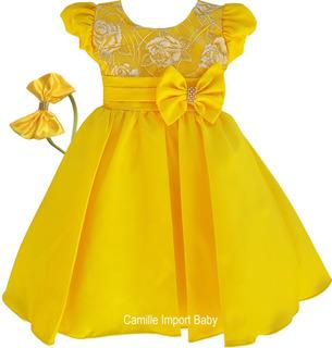 Vestido Festa Infantil Minnions Magali E Bela E Tiara