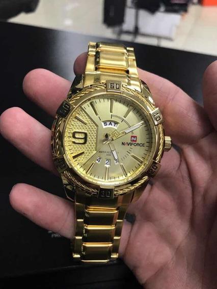 Relógio Masculino Dourado Militar Esportivo Naviforce 9117