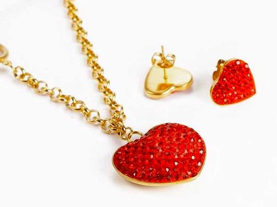 Collar + Dije + Aretes Corazon Rojo Dama Joyeria Novia Amor