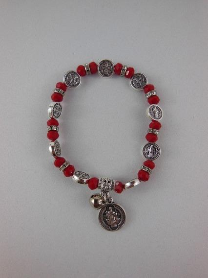 Pulseira Medalha De São Bento Vermelha