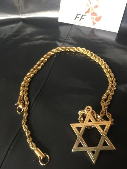 Medalha Estrela Davi Salomão + Corrente Aço Inox Masculino