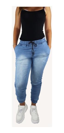 Calça Jeans Feminina Jogger Com Punho Elástico Moda Inverno