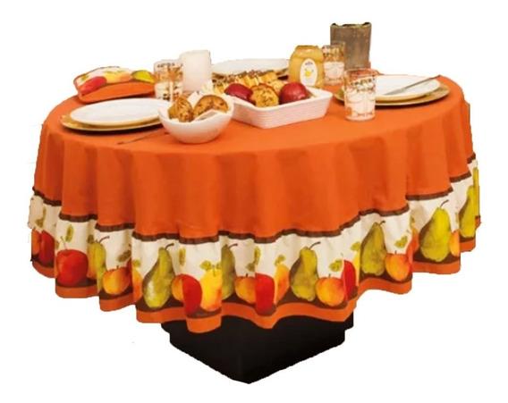 Mantel Para Mesa Comedor Circular Frutal Naranja Vianney