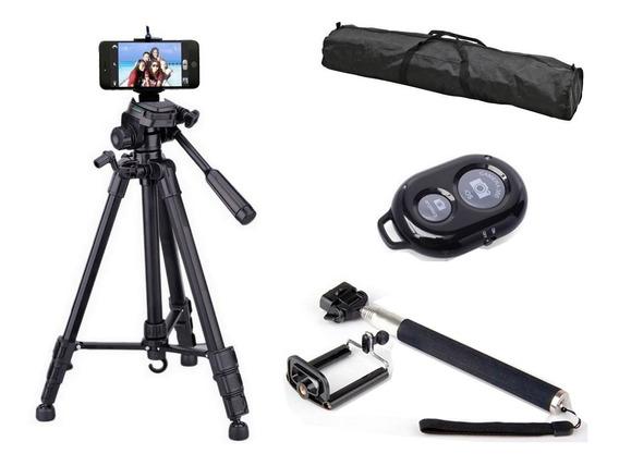 Tripé Telescópico Profissional Preto 1,80 Mts + Kit Selfie