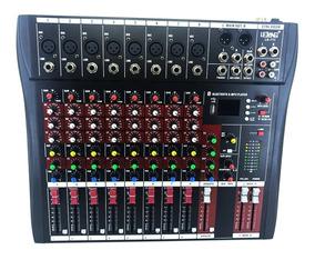 Mesa De Som Bluetooth Usb Mixer Mp3 Player 8 Canais Le-711