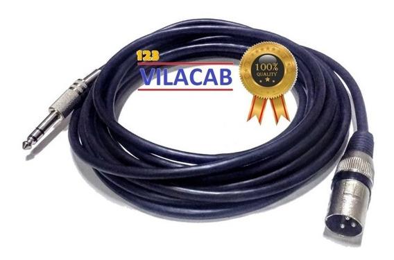 Cabo Xlr Macho P10 Stereo Plug Conector Canon 5mt Balanceado