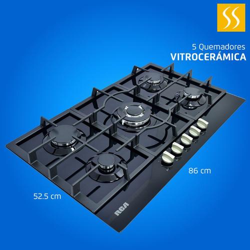 Cocina Encimera A Gas Rca 5q Encendido Electri Vitrocerámica