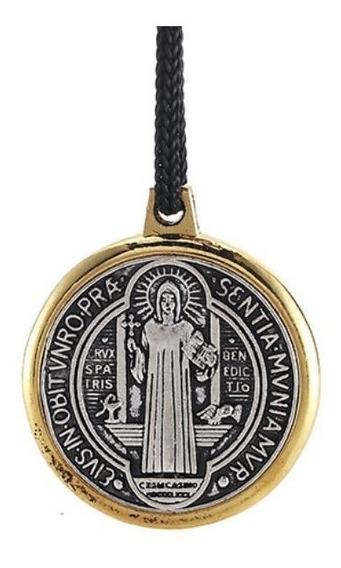 Colar Unissex Religião Jesus Cruz 2 Faces Aço Banhado Ouro