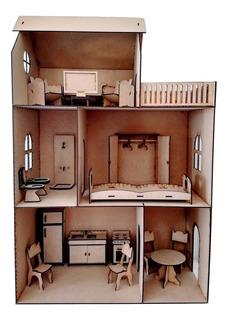 Casita De Muñecas Fibrofácil 17 Muebles Día Del Niño Regalos