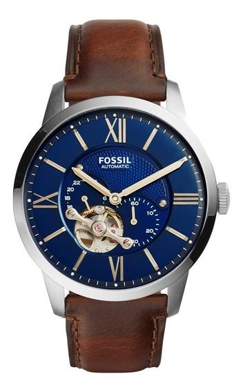 Relógio Fóssil Townsman Autom. Azul Satin Dial-me3110 + Lata