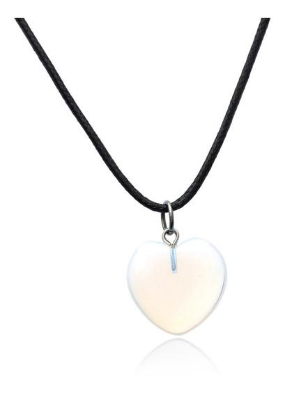 Cordão Colar Avano W-129 Pingente Coração Pedra Da Lua