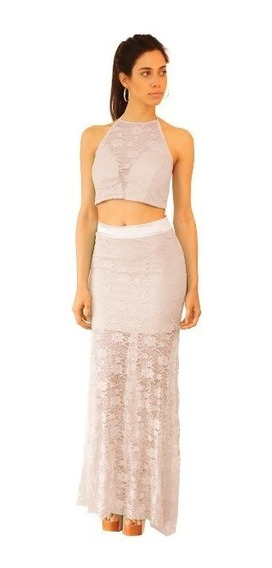 Vestido 2 Piezas Top Falda Con Tajo Liquidación Moda Pasión