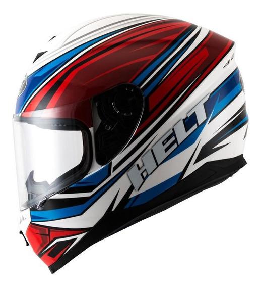 Capacete para moto integral Helt Street New Race Step azul, vermelho tamanho 60