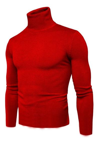 Cacharrel Blusa Suéter Lã Sintética Masculina Gola Alta