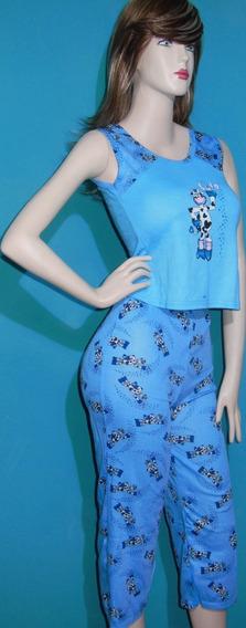 Pijama Conjunto Dama Franelilla Estampada+pantalon Capri