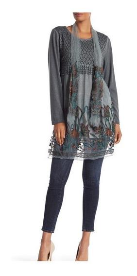 Suéter Túnica Vestido C/ Bufanda Talla Xl Simply Couture