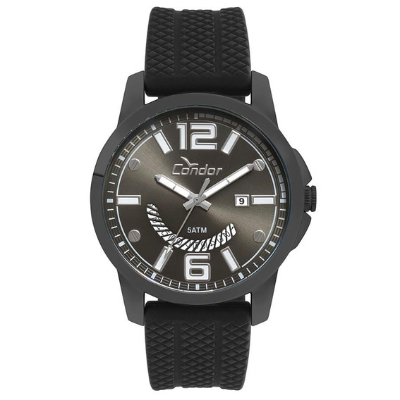 Relógio Condor Masculino Kit Fumê Silicone Co2115ktl/k2c