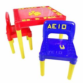 Mesa Com 02 Cadeiras Plástica Infantil Educativo Desmontável