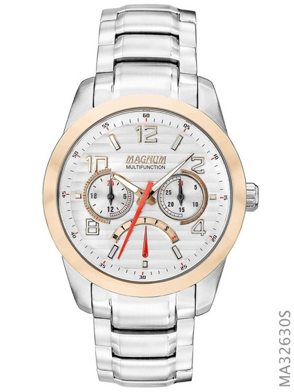 Relógio Magnum Prata E Rosé Aço Ma32630s