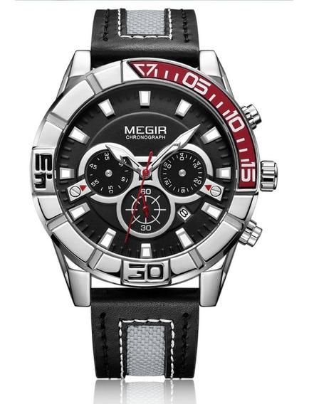 Relógio Masculino Megir 2066 Cronógrafo Original