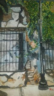 Pinturas En Acuarela, Detalle De Casas Antiguas En Colima