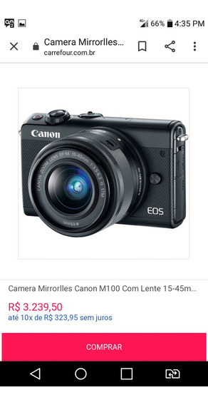 Camera Mirrorlles Canon M100 Com Lente 15-45mm E Kit Usada