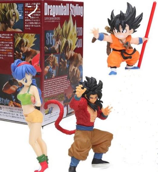 Kit 3 Bonecos Dragon Ball Z Goku Son Figuras De Ação