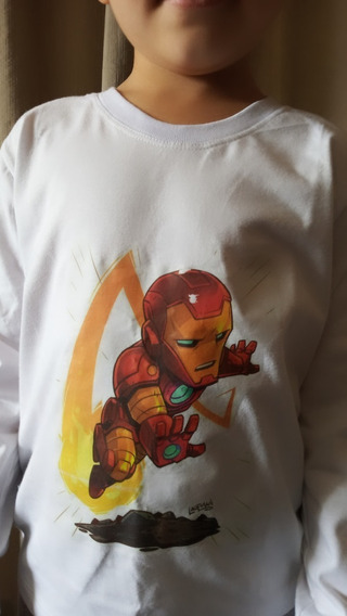 Camiseta Manga Longa, Infantil Menino, Super Heróis