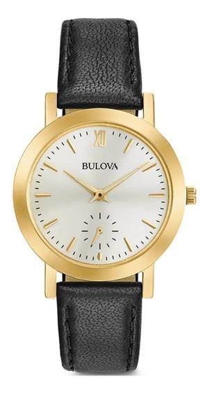 Reloj Bulova Mujer Cuero Clasico Esfera Segundero 97l159