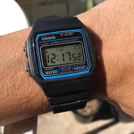 Relogio Casio F-91w-1 Digital Unissex Retrô Preto Top