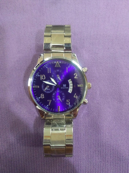 Relógio Masculino De Pulso Shaarms Prata E Azul