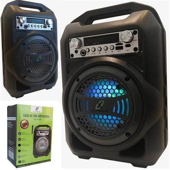 Caixa De Som Amplificada 30w Rms Karaokê Bluetooth Fm Led