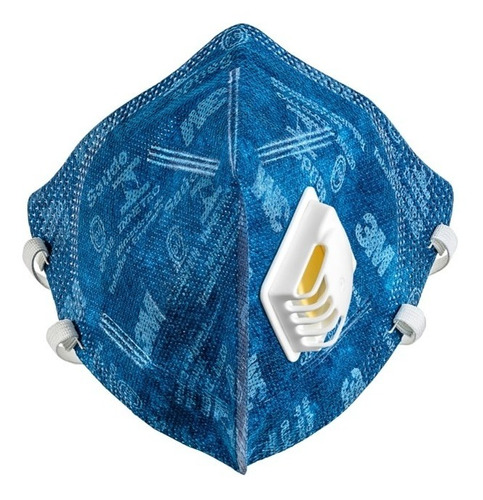 Máscara 3m 9822 Pff2 Com Válvula Azul 2 Tiras Elásticas