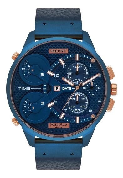 Relogio Orient Masculino Cronógrafo Masct001 D2dx Couro Azul