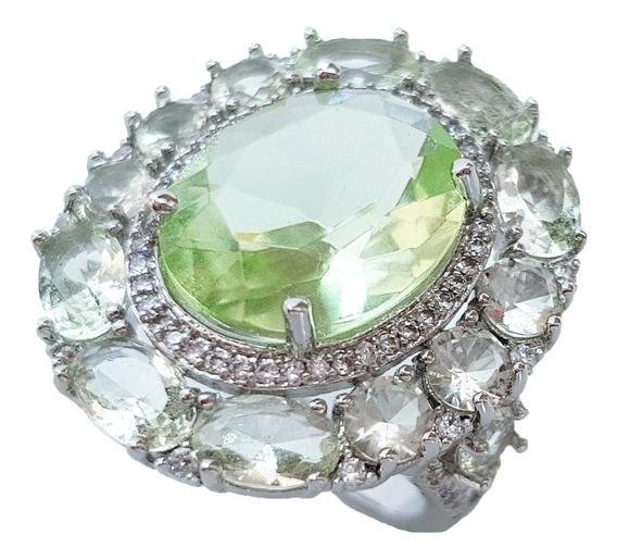 Anel Feminino Cristal Verde Banhado Ouro Branco Semi Joia