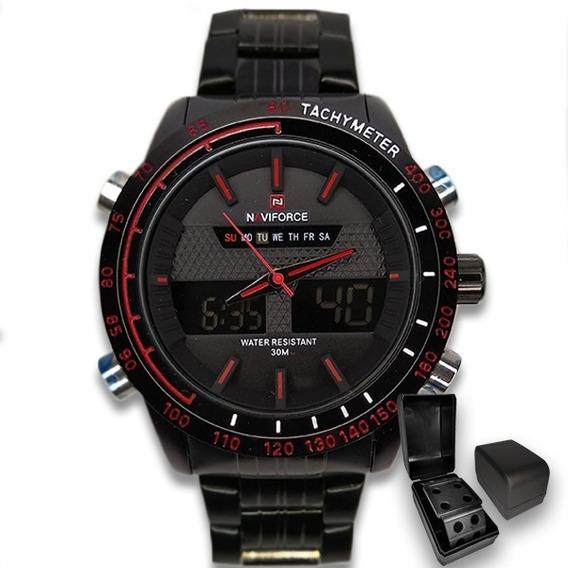 Relógio Masculino Original Naviforce Preto Importado +brinde