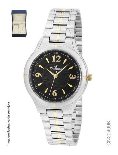 Relógio Feminino Champion Fundo Preto+ Kit Cn20499k